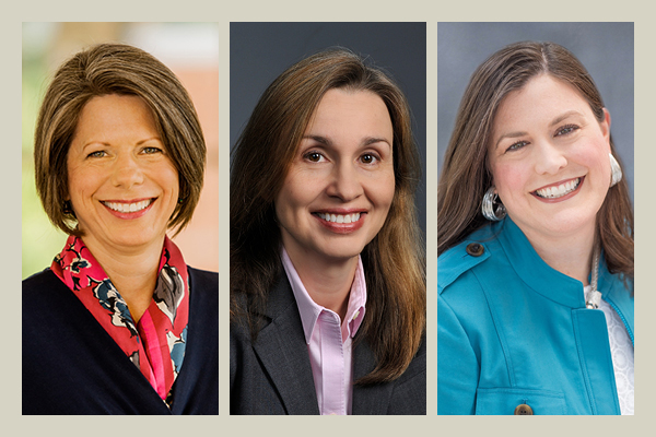 The University of Georgia is welcoming three new deans (left to right): Denise Spangler, College of Education; Sonia Hirt, College of Environment and Design; and Kelly M. Smith, College of Pharmacy